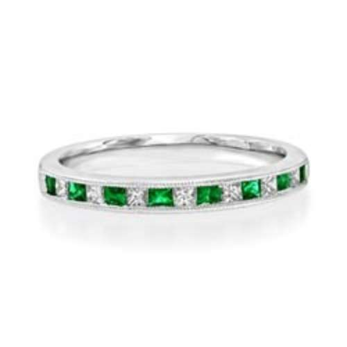 Emerald & Diamond Half Eternity